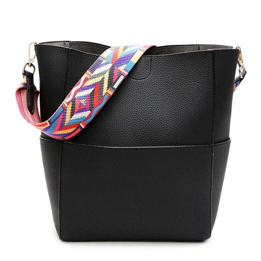 ZHIERNA Luxury Brand Designer Bucket bag Women PU Leather Wide Color Strap Shoulder bag Handbag Large Capacity Crossbody bag