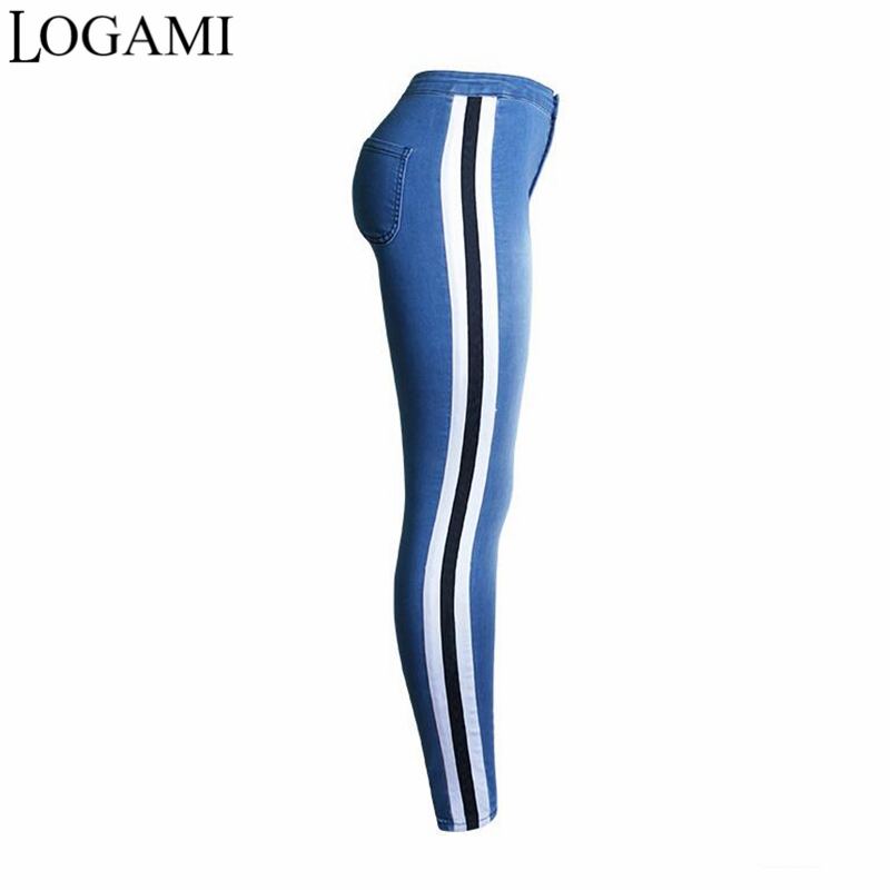 LOGAMI Slim   Jeans   For Women Skinny High Waist   Jeans   Woman Patchwork Pencil Denim Pants Pantalones Vaqueros Mujer
