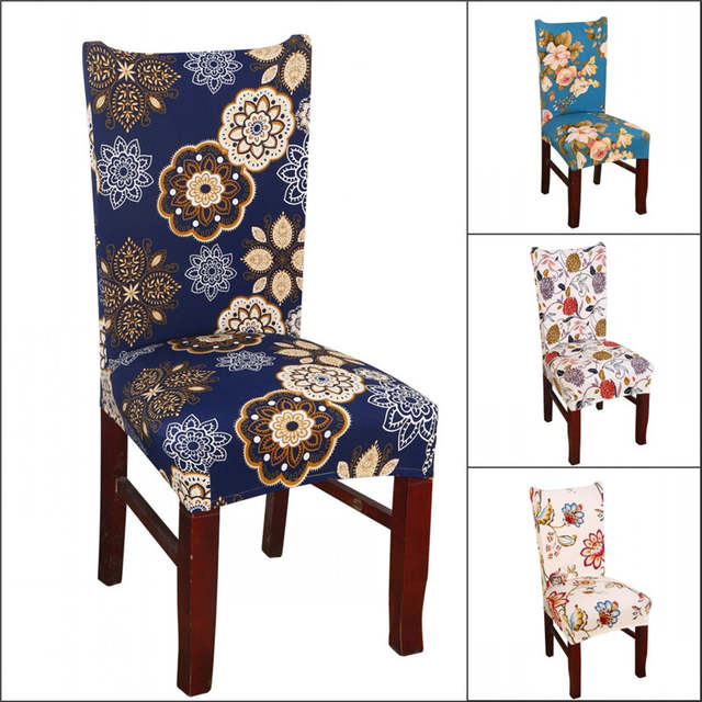 Dining Chair Covers Aliexpress Bean Bag Pattern Online Shop Home Decor Cover Leaf Flower Printed Placeholder Stretch Spandex Furniture Protector Office Banquet Hotel