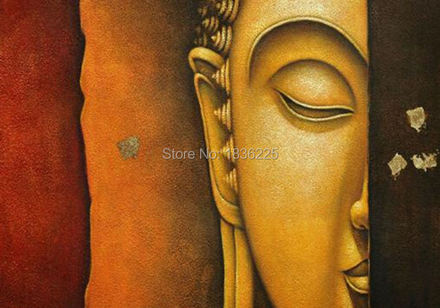 Hand Painted Oil Painting On Buddha Face Canvas Home Wall Decoration House Decor