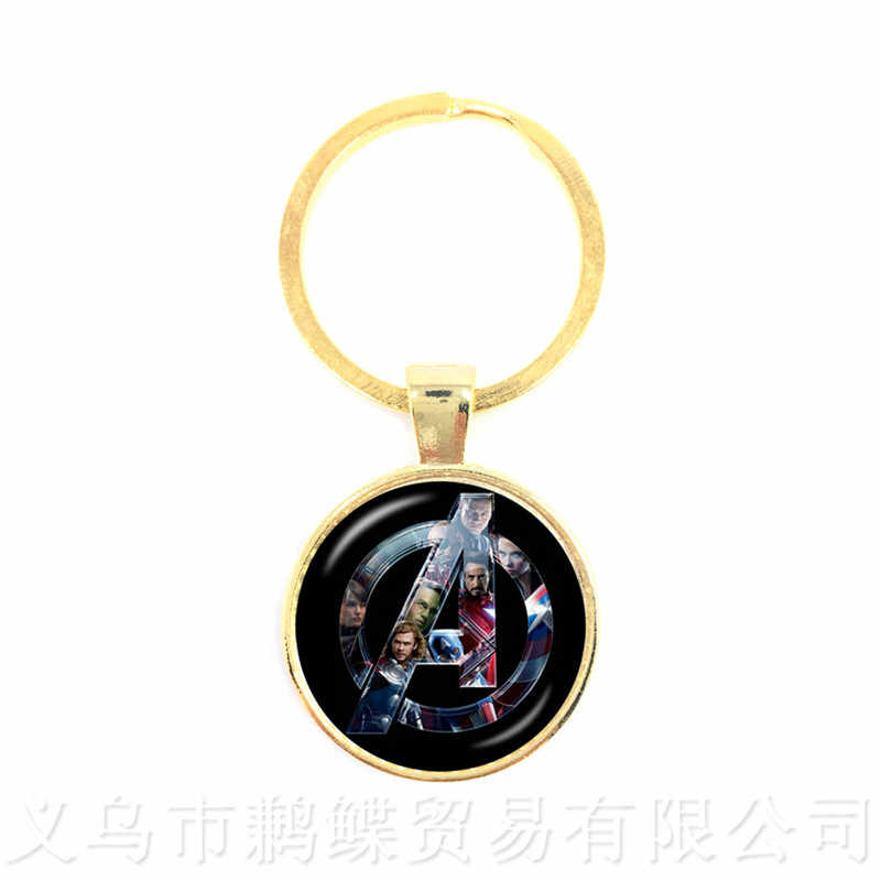 The Avengers Captain America Keychains 25mm Round Glass Dome Classic Cartoon LOGO Pendant Personalized Gift For Cartoon Lover