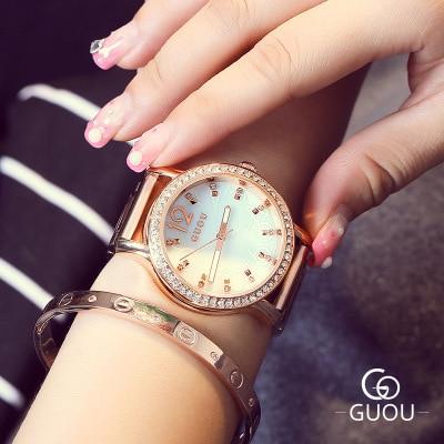 GUOU Watch Women Brand Fashion Rhinestone watches Stainless Steel Ladies Watch Luxury Exquisite Wristwatches relogio feminino