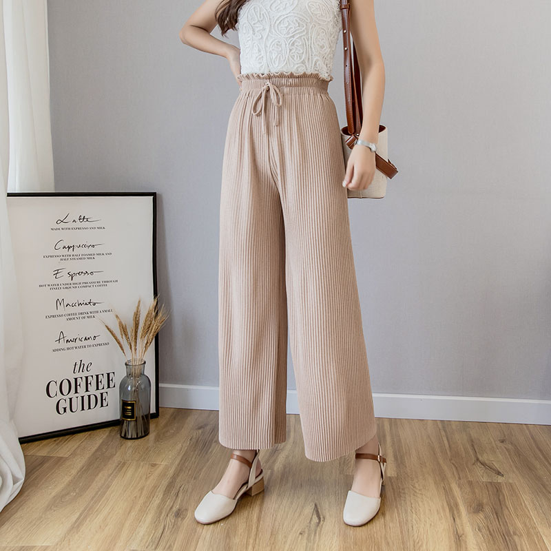 Womem   wide     leg     pants   2019 spring summer female vintage elegant elastic waist pleated   pant   casual thin knitting trousers lady