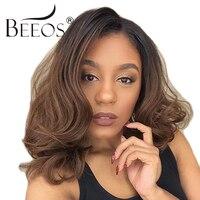 BEEOS Ombre Menschliches Haar Perücke 150% Dichte Brasilianischen Spitzefrontseitenperücken mit Babyhaar Gebleichte Knoten Remy Haar Durchschnittlichen Kappe 22