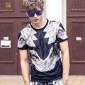 FanZhuan frete grátis Nova moda casual 2017 dos homens masculinos de verão juventude popular impresso asas homem T-shirt slim fina 711013 T camisa