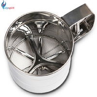 High Quality Stainless Steel Mesh Flour Sifter Mechanical Baking Icing Sugar Shaker Sieve Cup Shape Bakeware