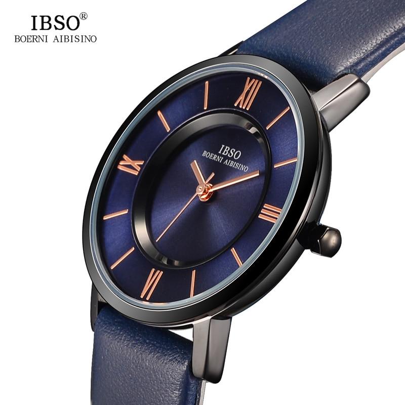 IBSO 7 MM Ultra-Thin Women Watches 2017 Genuine Leather Strap Fashion Blue Quartz Watch Women Luxury Ladies Watch Montre Femme