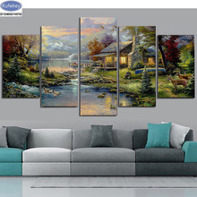 landscape nature house 5d diy diamond painting 5pcs cross stitch full beads diamond embroidery mosaic pattern new pictures sale