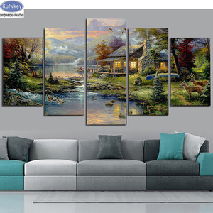 Image 1 - landscape nature house 5d diy diamond painting 5pcs cross stitch full beads diamond embroidery mosaic pattern new pictures sale