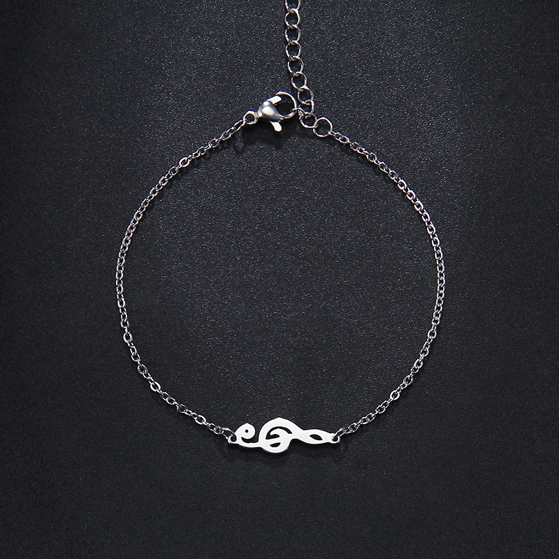 Stainless Steel Music Jewelry Set Necklace Bracelet Earring Treble Clef S544
