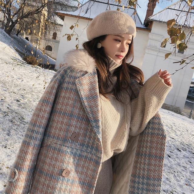 Mishow 2019 Women Coat outerwear winter clothing fashion warm woolen blends female elegant Double Breasted woolen coat MX18D9679 2