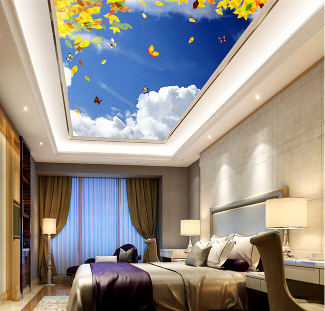 Custom 3D ceiling wallpaper. Beautiful sky Maple murals for the living room bedroom ceiling wall waterproof wallpaper custom 3d stereo ceiling mural wallpaper beautiful starry sky landscape fresco hotel living room ceiling wallpaper home decor 3d
