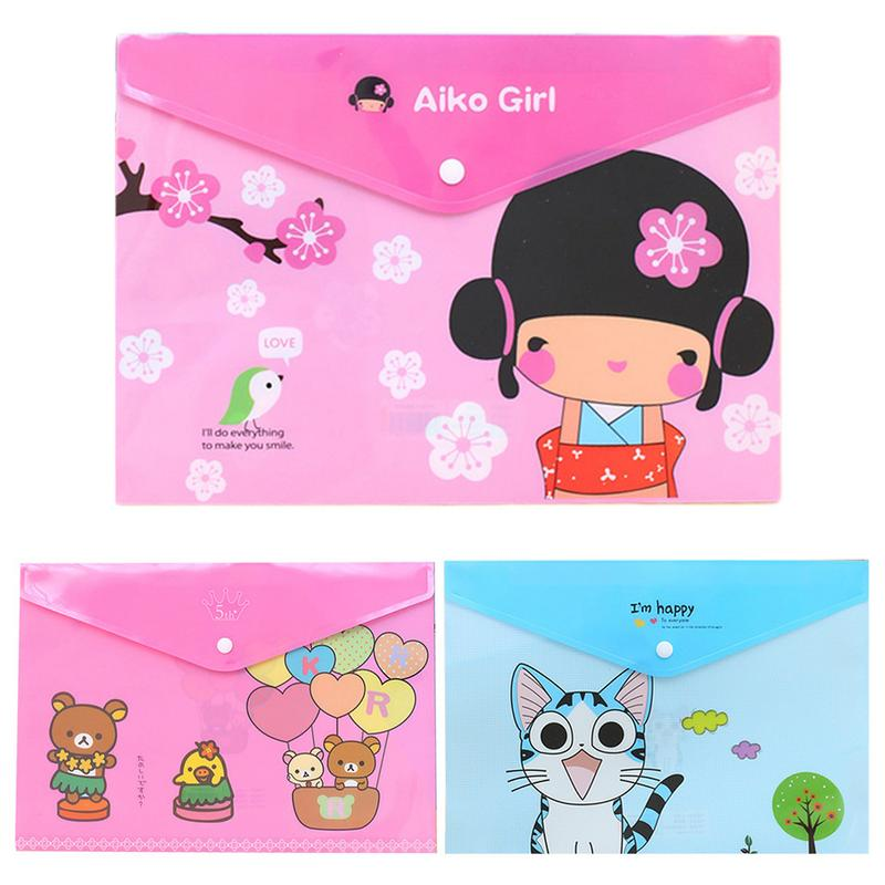 Cute Animal Pattern Plastic A4 Paper File Bag Transparent File Folder PVC File Pocket School Supplies Office Storage Supplies