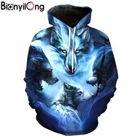 BIANYILONG Wolf Hoodies 3D Men Women Sweatshirts Fashion Autumn Tracksuits Harajuku Outwear Casual Animal Male Jacket