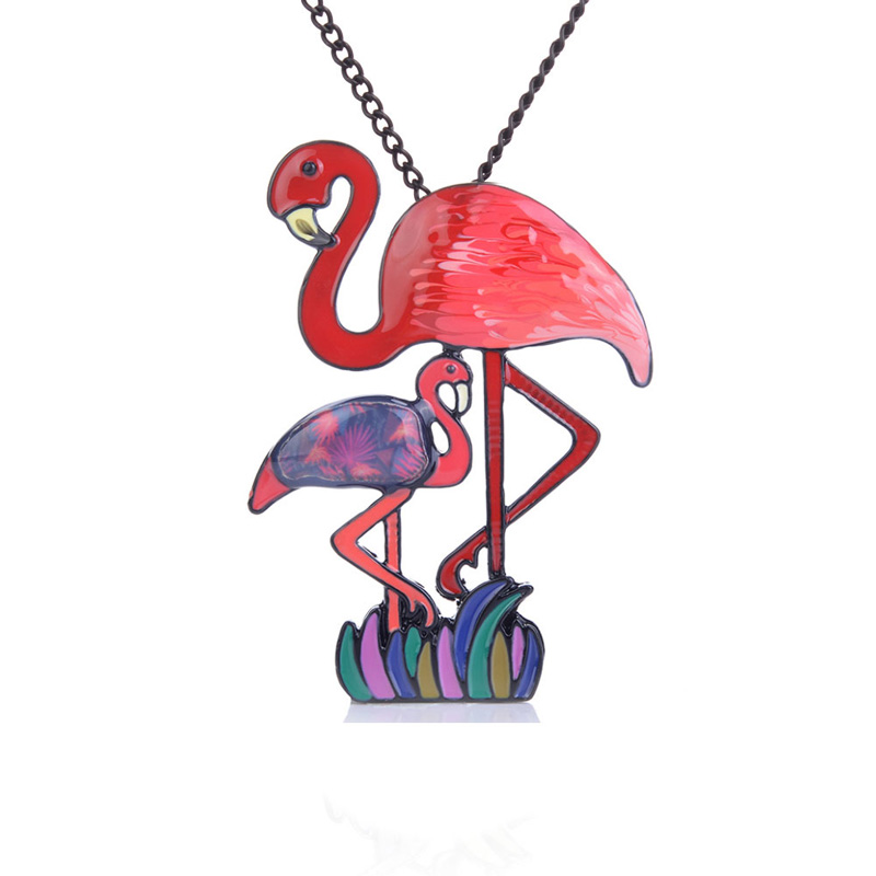 Mother 39 s Day Necklace for Women Fashion Long Enamel Charm Flamingo Bird Pendants Necklaces New Arrival Elegant Animal Jewelry in Pendant Necklaces from Jewelry amp Accessories
