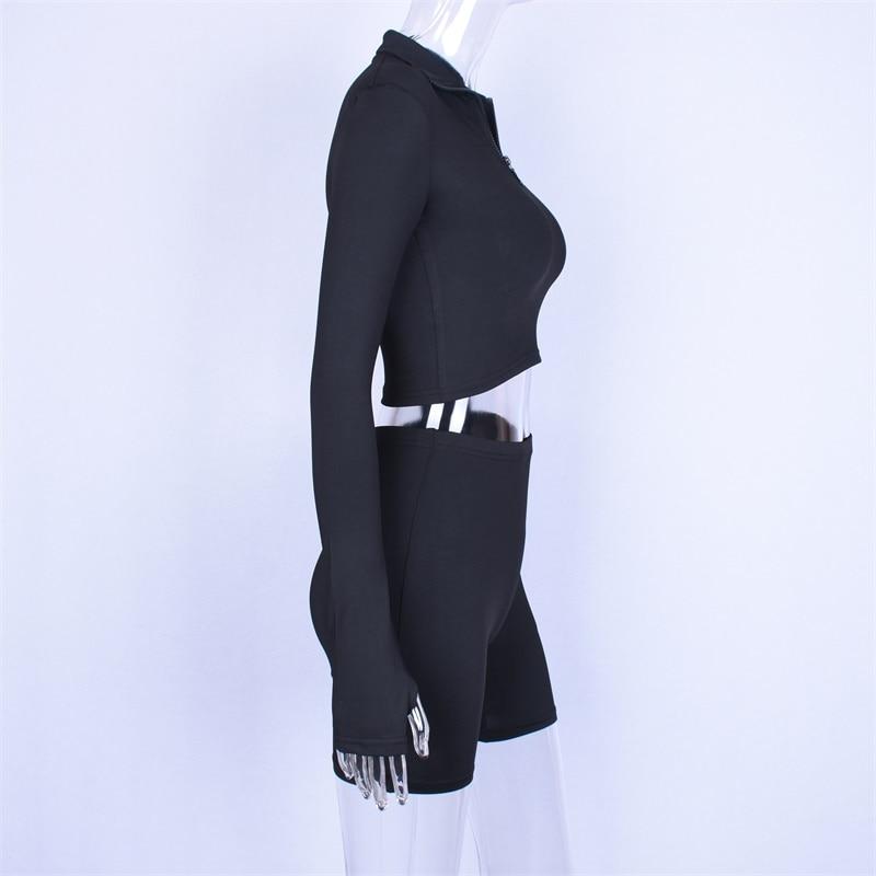 Hugcitar с длинным рукавом на молнии с высоким воротом эластичные пикантные Топы Шорты 2-pieces 2018 лето осень женские модные повседневные