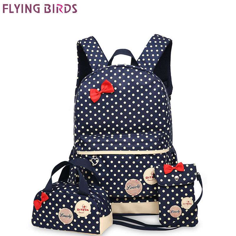 FLYING BIRDS School Bags For Teenagers Girls 3pcs/set bow Backpacks Polyester Cute School Bag Lady Bookbag Travel bag mochila hynes eagle 3 pcs set 3d letter bookbag boys backpacks school bags children shoulder bag mochila girls exo printing backpack