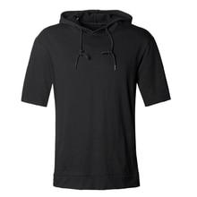2018 Men new spring solid hooded black short sleeve sweatshirt metrosexual men hoodies fashion cotton casual brand design