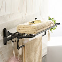 Wall Mounted Bathroom Towel Holder Foldable Towel Rack 60cm Stainless Steel Towel Shelf With Hooks