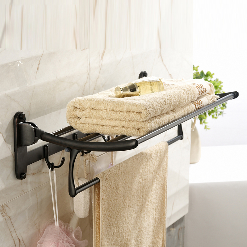 Wall Mounted Bathroom Towel Holder Foldable Towel Rack 60cm Stainless Steel Towel Shelf with hooks towel racks wall mounted bathroom towel double stainless steel rail holder shelf storage rack bar bathroom tools