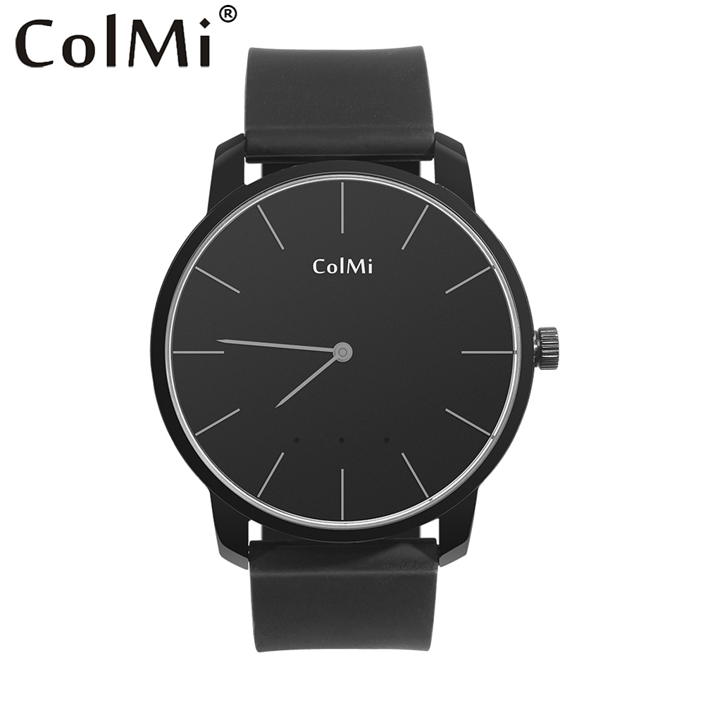 ColMi Quartz Montre Intelligente Ultra Mince Podomètre Notifications Ronde Bluetooth En Cuir Poignet Casual montre pour Android et iPhone