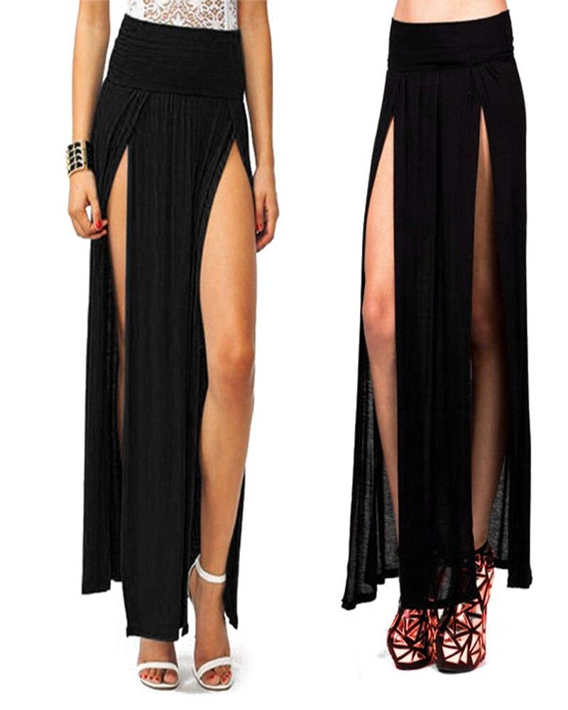 High Waisted Slit Skirt