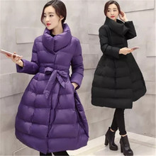 2016 New Winter Fashion Down Cotton Parkas Women Slim Belt Thicken Wadded Jacket Stand-Collar Warm Long Cotton Coat Parkas A1449