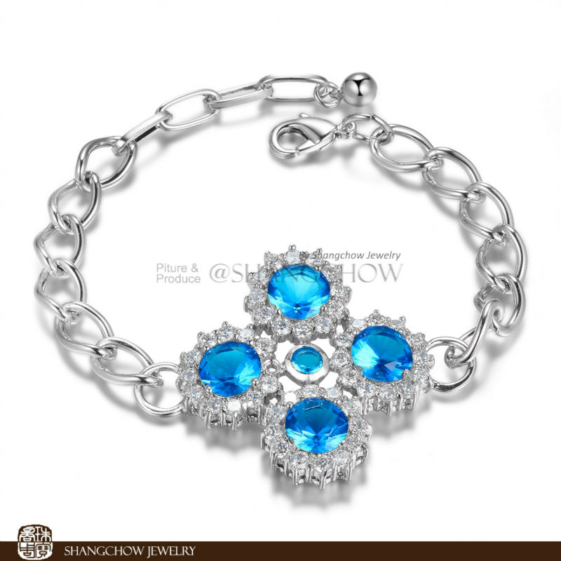 New! Stunning Fashion Jewelry 5 PCS Blue Crystal 925 Sterling Silver Bracelet B0052