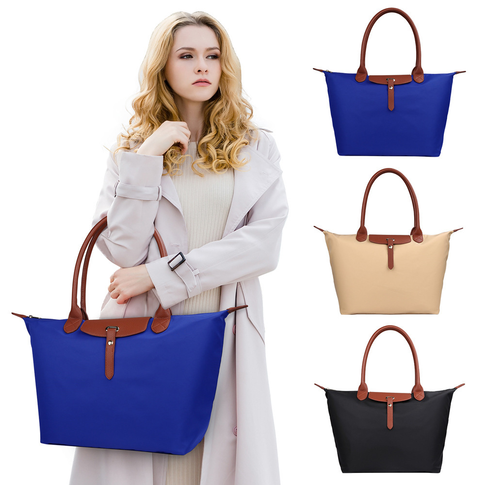 LKX HOT Summer Women's Big Beach Handbag Foldable Nylon Waterproof Long Handbags Large Tote Shopping Champagne Bags For Women
