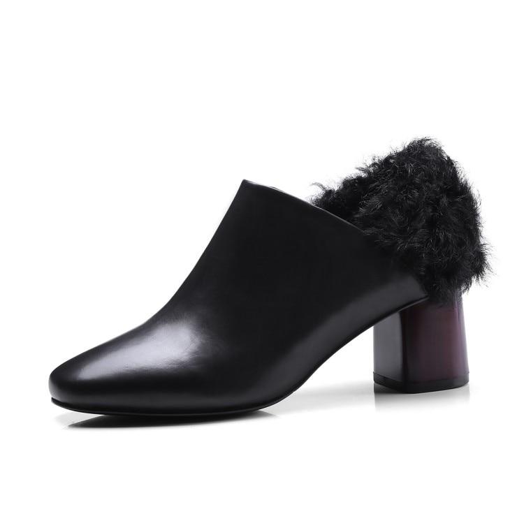 La Cuadrado 2018 Del Mujeres Genuino De marrón Moda Dedo Bombas Piel Alto Tacón Pie Negro Mujer Zapatos Grueso Vestido Nuevos Las Cuero {zorssar} U7qPPd