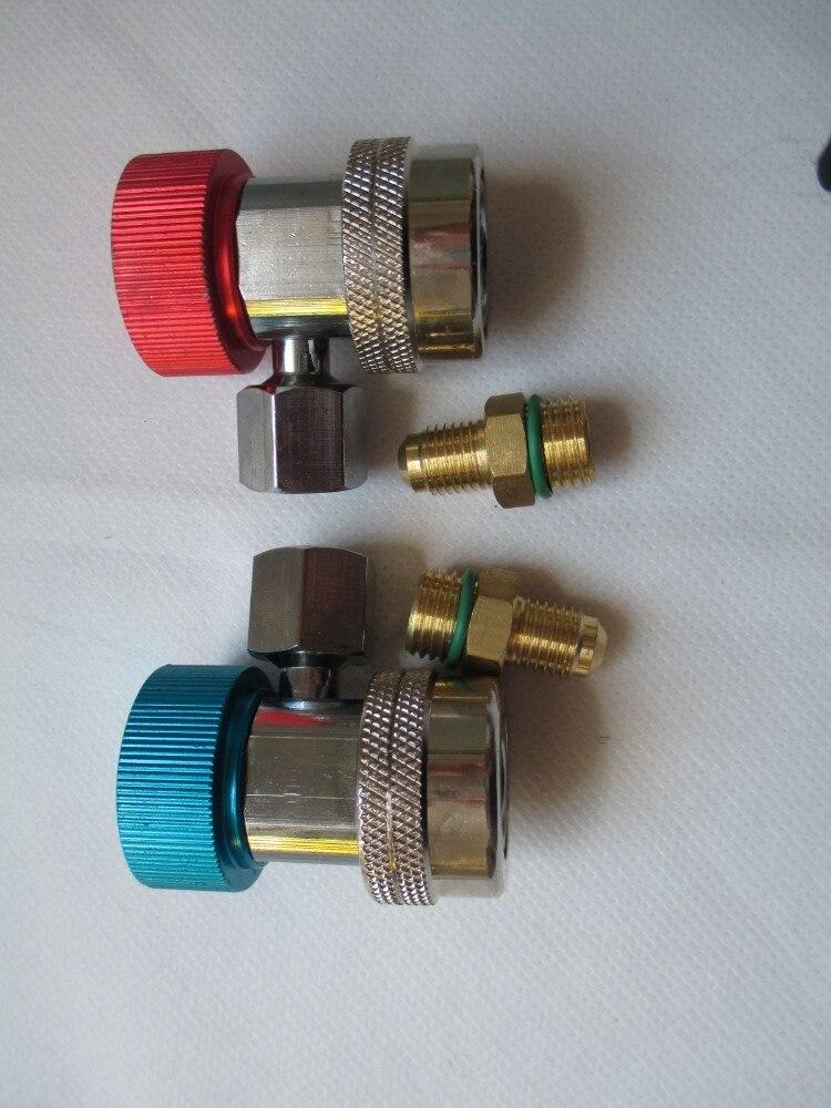 2Pcs Car Auto Freon R134A H/L Quick Coupler Adapters Air Conditioning Refrigerant Adjustable A/C manifold gauge set