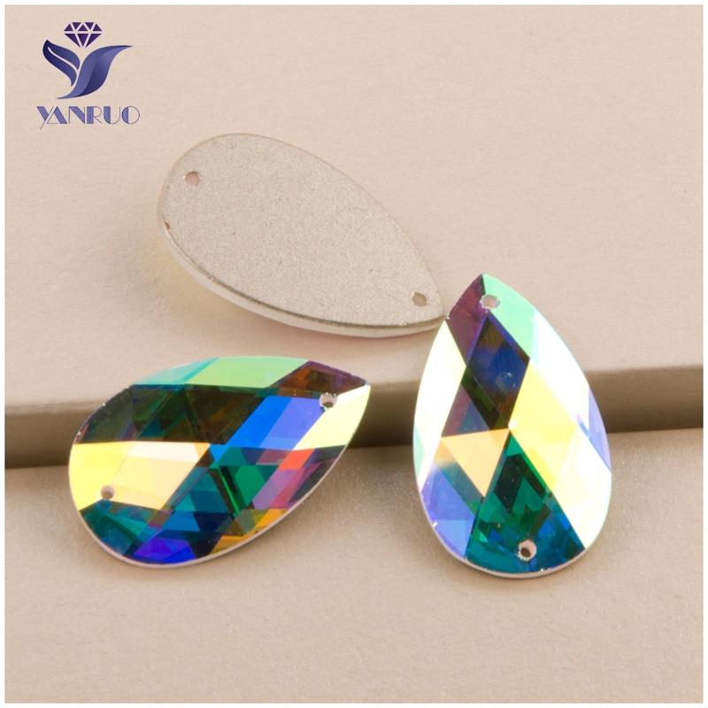 YANRUO #2152TH AB Shiny Diamond Flatback Craft Rhinestone Crystal Strass Drop Sew On Stones For Garment Accessories