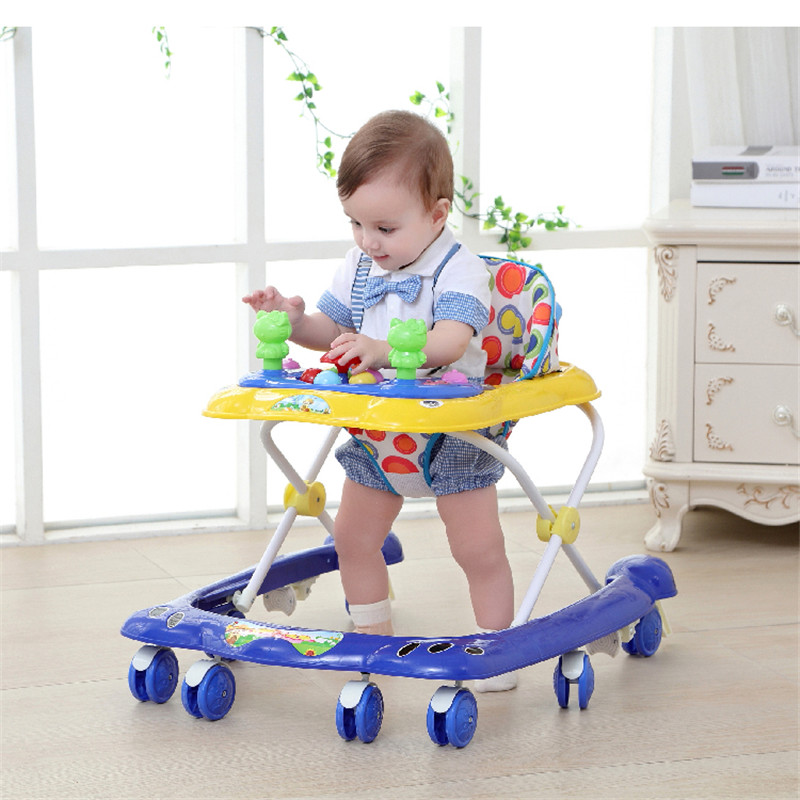 RU free ship ! Baby walker six wheel foldable light can sit multi function anti rollover walker 6 18 months baby apply
