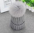 "Real Fox Fur Pom Pom 13cm 5.11"" Womens Winter Knit Beanie Bobble Hat Crochet Ski Cap Gray"
