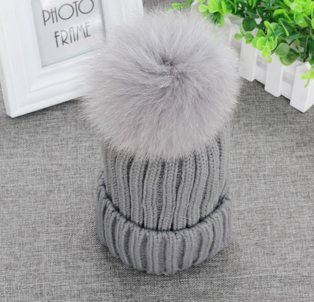 "Real Fox Fur Pom Pom 13cm 5.11"" Womens Winter Knit Beanie Bobble Hat Crochet Ski Cap Gray"