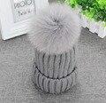 """Verdadeira Pele De Raposa Pom Pom 13 cm 5.11 """"Mulheres de Malha De Inverno Beanie Bobble Chapéu de Crochê Gorro De Esqui Cinza"""
