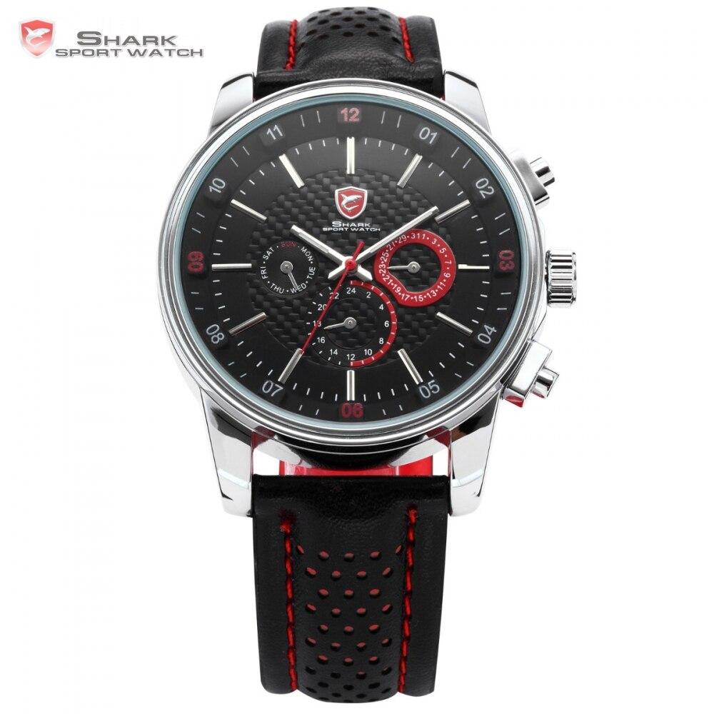 купить SHARK Sport Watch 6 Hands Auto Date Day Genuine Leather Strap Black Red Wrist Quartz Relogio Masculino Men Original Box / SH094 по цене 3059.21 рублей