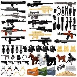 LegoINGlys военный спецназ оружие строительные блоки пушки пакет городской полиции солдат строитель серии WW2 армейские аксессуары MOC кирпичные ...