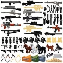 LegoINGlys militar Swat armas de construcción de bloques de armas Paquete de policía de la ciudad soldado Builder serie WW2 accesorios del ejército MOC juguetes de ladrillo