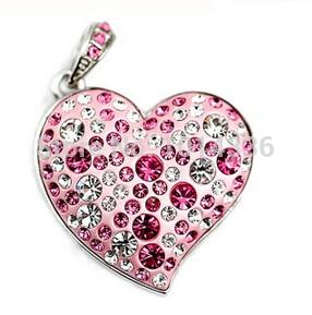 real capacity fashion lovely jewellery Heart Gift diamond 1/2/4/8/16/32GB USB Flash Drive Memory card Stick Pen S48 gift