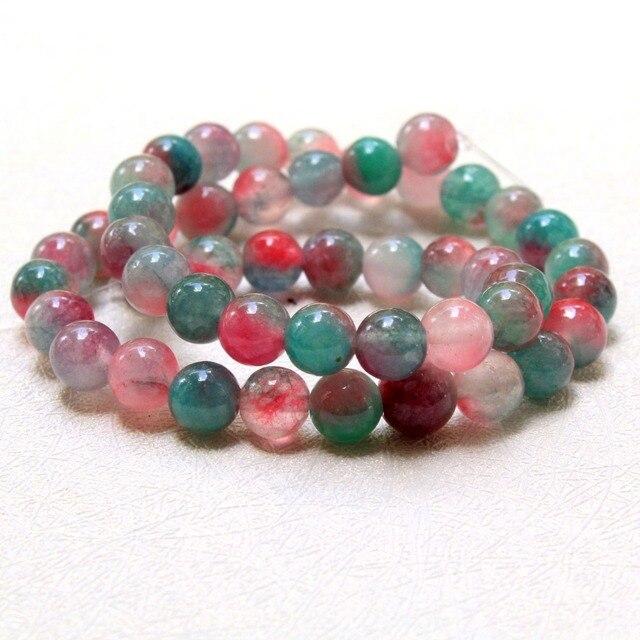 40fb5f9d4a51 Venta al por mayor AAA + tinte rosa verde patrón blanco Natural piedra  perlas para joyería