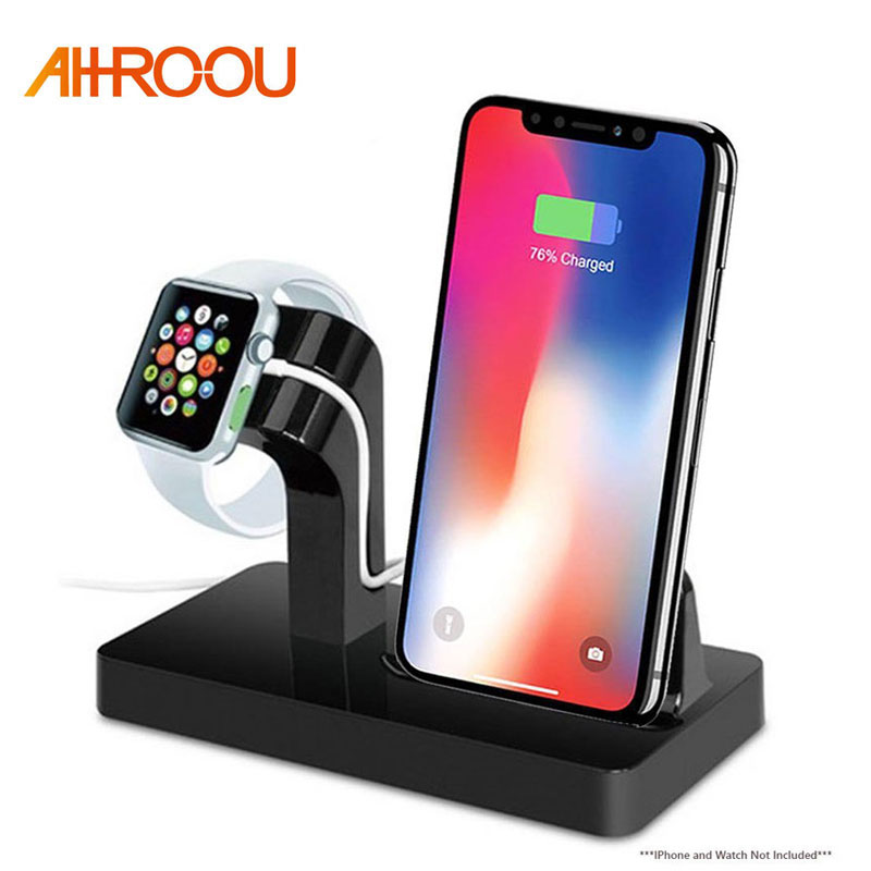 AHHROOU 2 In 1 Charging Dock Station Bracket Cradle Stand Holder Charger For IPhone X 8 7 6S Plus 5S Dock For Apple Watch Charge