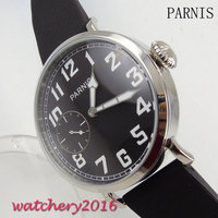 New 46mm Parnis Black Dial polished bezel stainless steel case 17 jewels 6497 hand winding movement Mechancial Men's wristWatch