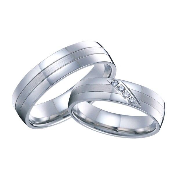 1 para high end handgemacht kunden silber weiß gold farbe hochzeit ringe sets für männer und frauen reine titanium stahl schmuck - 3