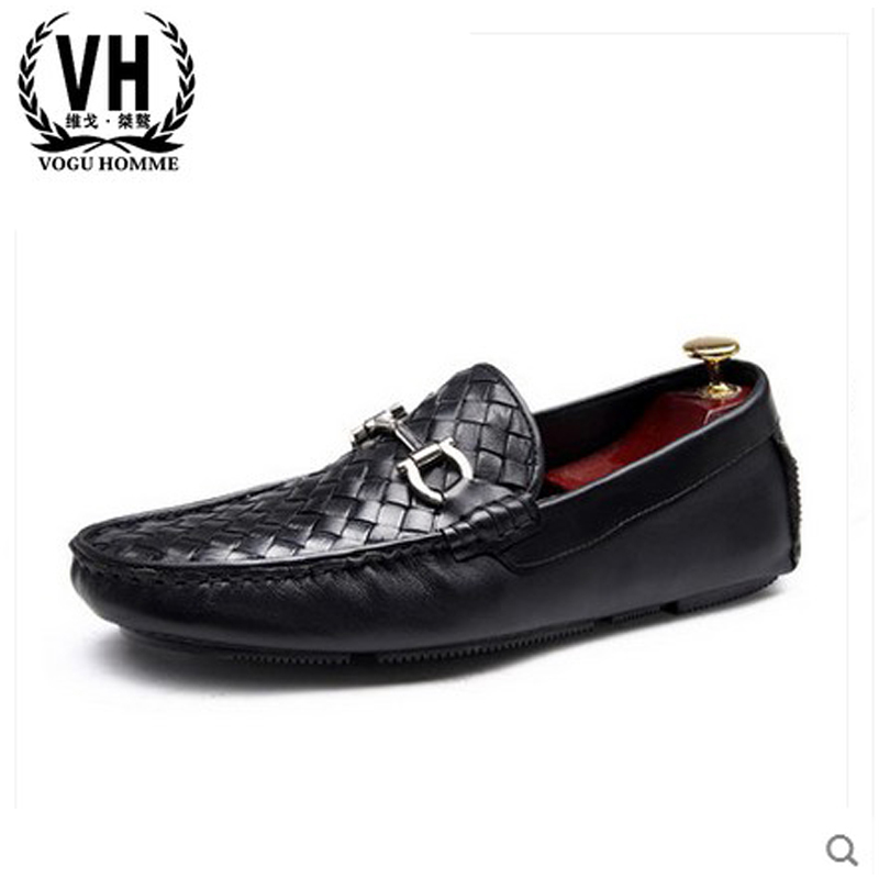 Woven leather shoes business casual shoes men driving round Korean sailing lazy set foot Doug shoes branded men s penny loafes casual men s full grain leather emboss crocodile boat shoes slip on breathable moccasin driving shoes