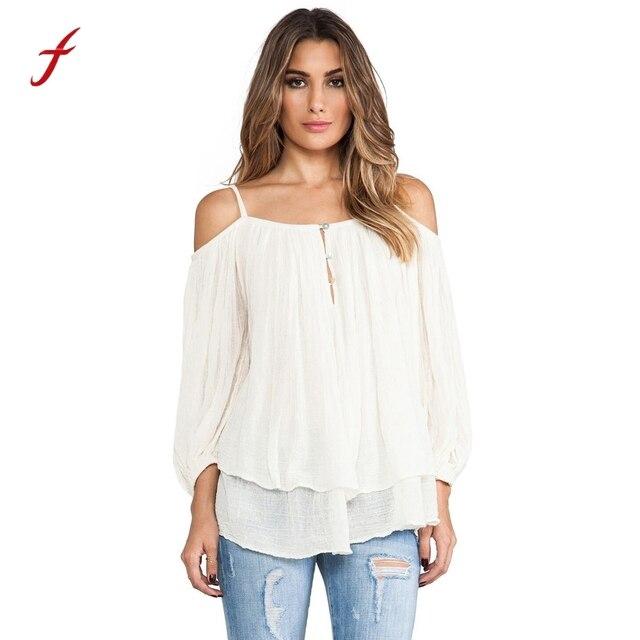 Тот модные летние Для женщин Спагетти ремень Белые блузы дамы печатных с плеча чешские Рубашки для мальчиков Топы корректирующие blusas feminina Camisas