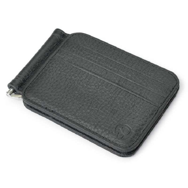 Wholesale Leather Money Clip Metal Wallet Men Thin Billfold Folded Clamp for Money Credit Clips Card Skin Wallets Money Clip New