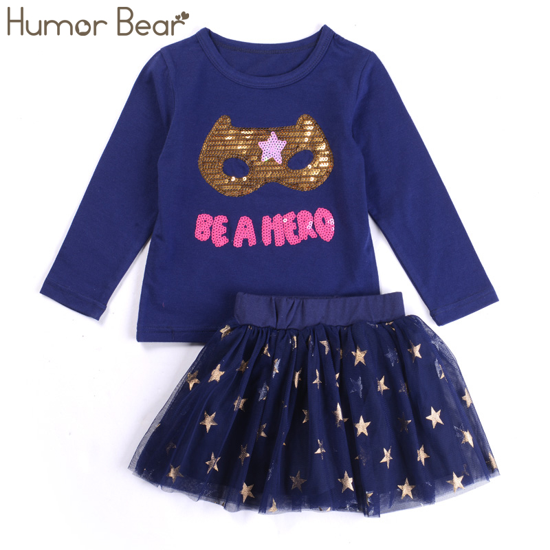 Humor Bear Baby Girl Clothes Set New Sequins Letter Long Sleeve T-Shirt + Stars Skirt 2PCS Girl Clothing Sets Kids Clothes retail design children clothing set for kids girl dark blue cardigan t shirt pink skirt high quality 2014 new free shipping