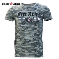 Hot Sell Fashion Summer Style T Shirt Men Short Sleeve Cotton Flag And Letter Printing Camouflage