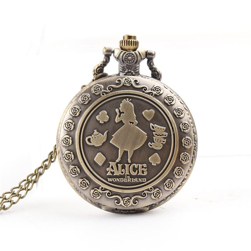 Retro Alice In Wonderland Theme Steampunk Pocket Watch Vintage Bronze Quartz Fob Watches for Men Women Christmas Brithday Gift in Pocket Fob Watches from Watches